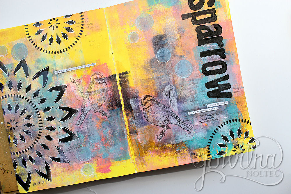 sparrow art journal page