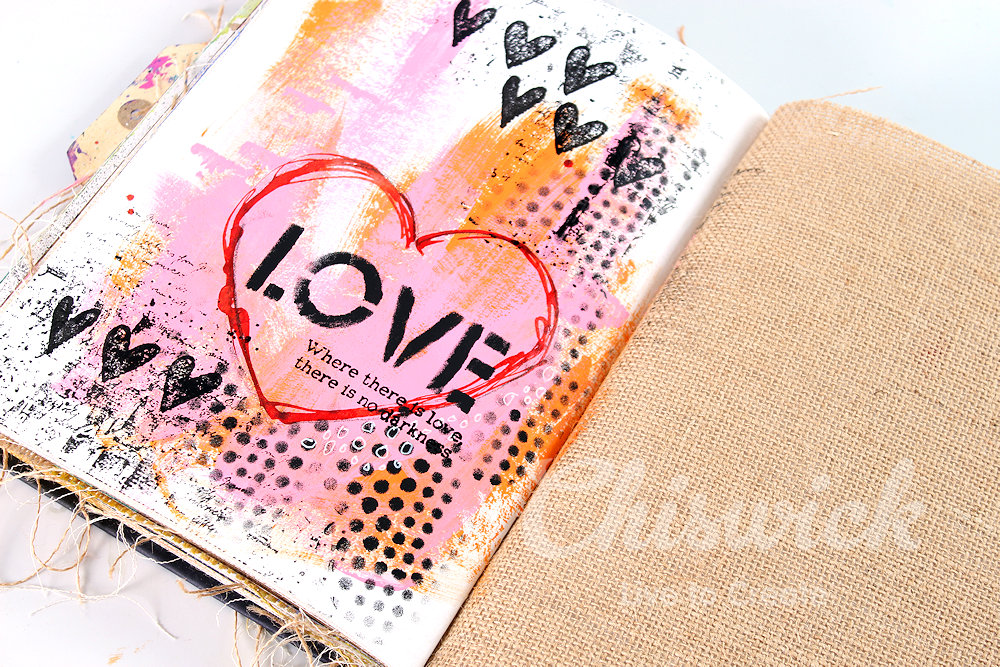 love valentines art journaling page
